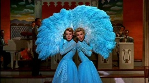 "Rosemary Clooney and Vera Ellen as the Haynes Sisters in the movie ""White Christmas."" 1954. Copyright 20th Century Fox and Paramount Studios."