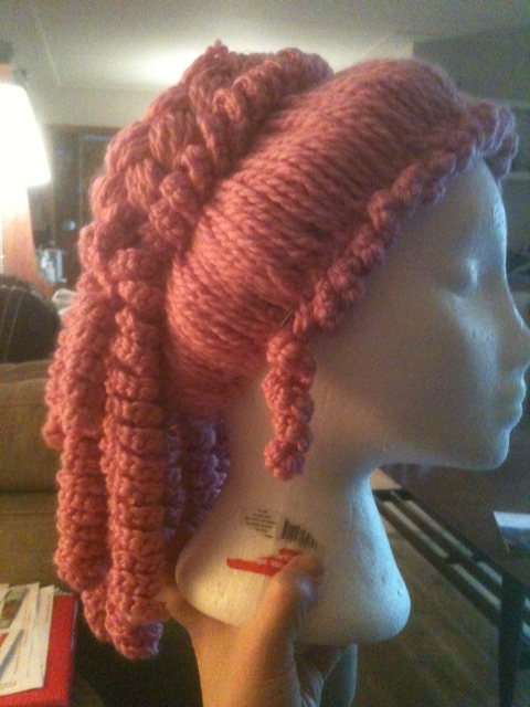 Side view of the finished wig.