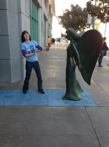 Lis attempts not to blink at the FIDM Weeping Angel.