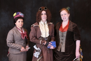 Arte in her natural form #11, Lis as Steampunk River Song and me as the bustled 4th Doctor