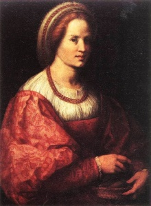 """1517 Florence """"Portrait of a woman with basket of spindles"""" by Andreo Del Sarto"""