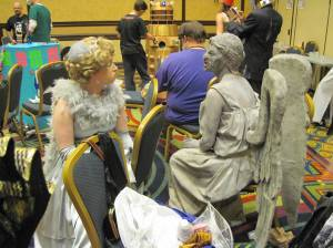 Weeping Angels hanging out, shooting the breeze.
