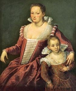 Domenico Robusti (Tintoretto) Portrait of a Lady with Child Private Collection ca. 1590
