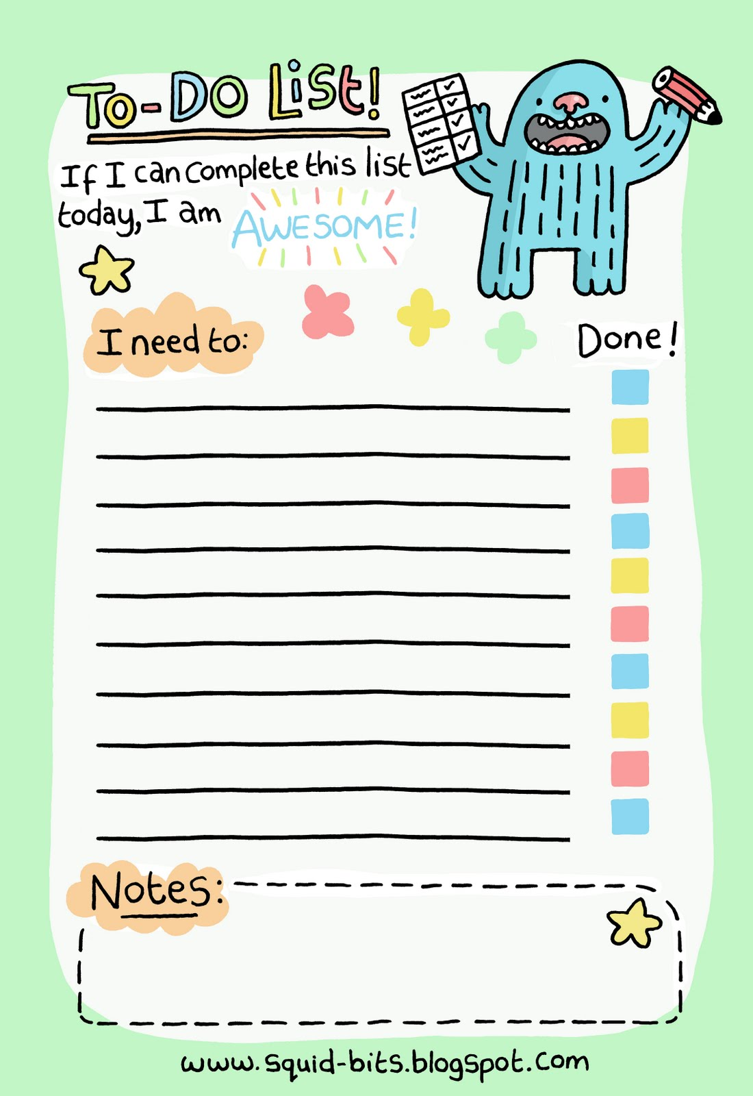 To Do List. Isn't it cute? Copyright http://www.squid-bits.blogspot