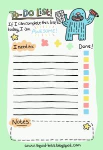 To Do List.  Copyright www.squid-bits.blogspot.com
