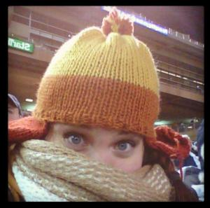 Maven at a Twins Game wearing a cunning hat.
