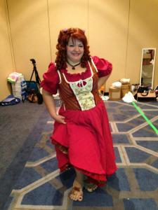LV as Lady Hobbit.  She got fake toes and ears and even painted the toenails on her fake feet.