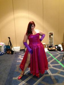Maven as Jessica Rabbit.  To fake the low back of the dress while still being supportive, Maven sewed a faux skin panel of heavy knit onto the back of the bodice, worn over a corset.  She also was the only person with a slit in her skirt.