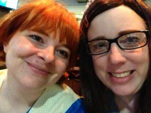 Pippi and Amy compare unnaturally colored eyebrows.