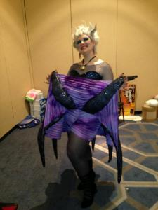Jess as Ursula the Sea Witch.  Her tentacles were articulating, and she had the longest fake eyelashes I have ever seen.  People LOVED her.