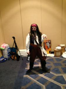 DK as Jack Sparrow.  Later in the evening she made a particularly winsome Pippi Longstocking.
