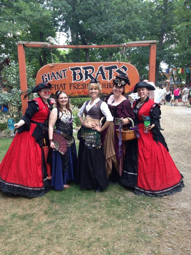 My Pirate Family - older sister Opaline, her twin Ophelia, our mother Lilith, my twin Dona Margarita, and me.  Note the classy blue ball jar stemware we are sporting.