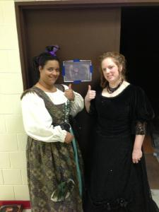 """Erica and I dressed up for the last performance as a surprise.  We are giving """"The Beast"""" a thumbs-up for bringing luck to the production."""