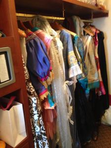 When two costumers travel together, this is what their closet looks like...