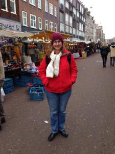 Emily at the Albert Cuyp Street Market.