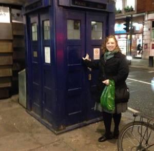 Visiting the Tardis in London.