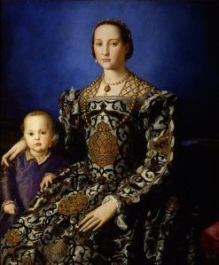 Eleonora di Toledo and her son, as painted by Bronzino.  On exhibit in the Uffizi Gallery, Florence, Italy.
