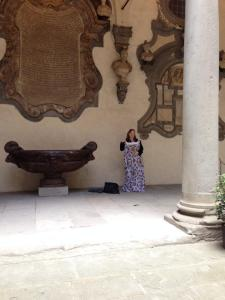 At Palazzo de Medici with the dress.